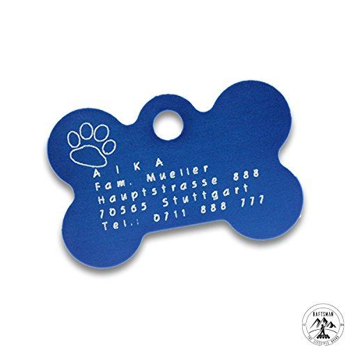 Hundemarke mit Gravur - ID Tag - Adressanhänger - Adressschild - Individuelle - Personalisiert - Diamantgravur (Blau)