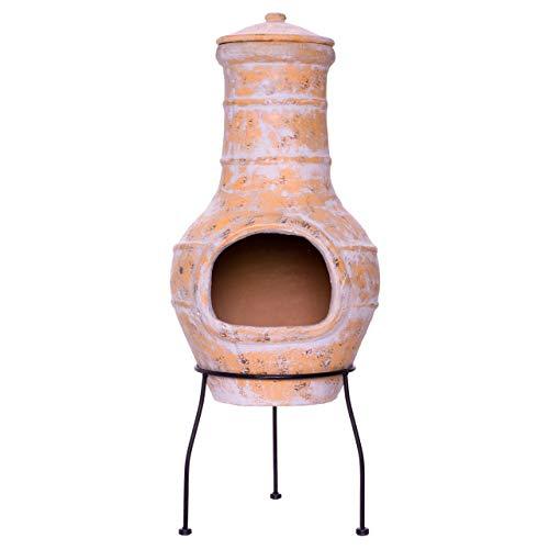 Nexos Terrassenofen Gartenkamin Terracotta 85 cm Gartenofen Stahlgestell Feueröffnung20x15 cm Schlotöffnung 26x15 cm robust 19,5 kg Lerma