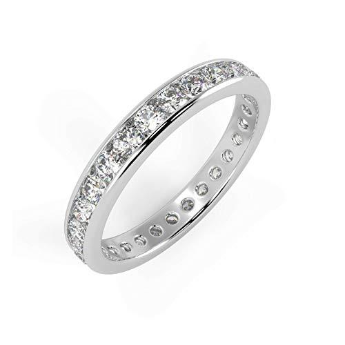 1.00 Ct Round Diamond Channel Set Full Eternity Ring, Platinum Size N