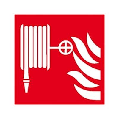 Schild Löschschlauch Brandschutzzeichen / nachleuchtend Größe: 15,0 x 15,0cm Alu