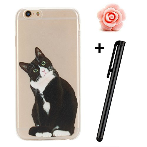 Custodia per iPhone 6s, toyym iPhone 6 6S Custodia Bumper trasparente, flessibile, in silicone [trasparente] morbido TPU ultra sottile resistente agli urti + Drop assorbimento + antigraffio] Cover Ski Lovely cat