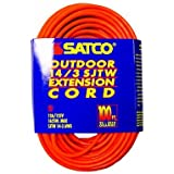 Satco Products 93/5010 14/3 Gauge SJTW-3 Outdoor Extension Cord with Sleeve, Orange, 100-Foot by Satco