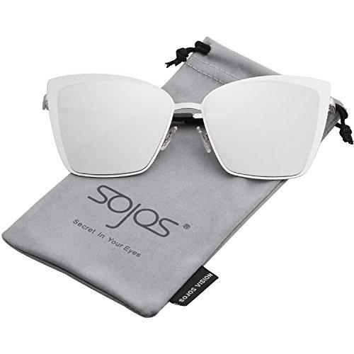 SOJOS Sonnenbrille Rechteckig Katzenaugen Neue Modell Flach Linsen Groß SJ1086 mit Silber Rahmen/Silber verspiegelt Linse
