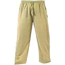 GURU-SHOP, Pantalones de Yoga, Pantalones Goa, Beige, Algodón, Tamaño:M (48), Pantalones de Hombre