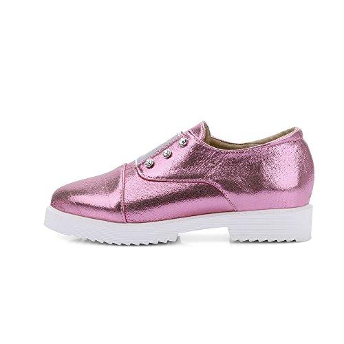 VogueZone009 Femme Tire à Talon Bas Pu Cuir Mosaïque Pointu Chaussures Légeres Rose