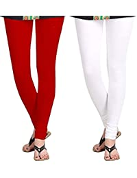 Spring Up White Maroon Woman's Cotton Lycra Premium Leggings (Pack Of 2)