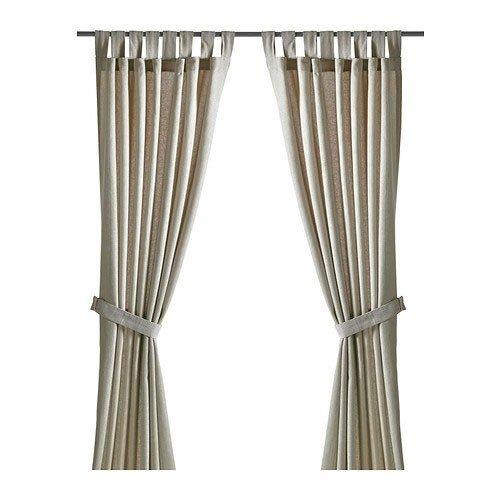 Ikea LENDA 2 Gardinenschals mit Raffhalter, Beige Gardine 2X 300x140cm