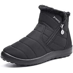 Botas de Nieve para MujerNiñas,Camfosy BotinesdeInviernoImpermeables Zapatos Planos TacónPlanoCiudadBotas PielInteriorcálidaCómoda NegroAzulRojo 2019