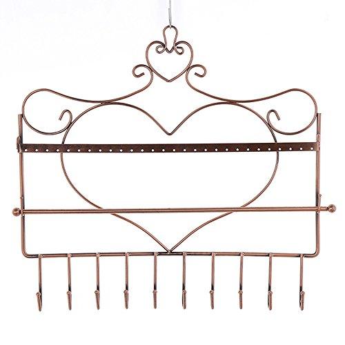 Eisen Kunst Wandhalterung Herz Form Multifunktions Jewelry Organizer Hänge-Ohrring Halskette Schmuck Display Ständer Rack bronze