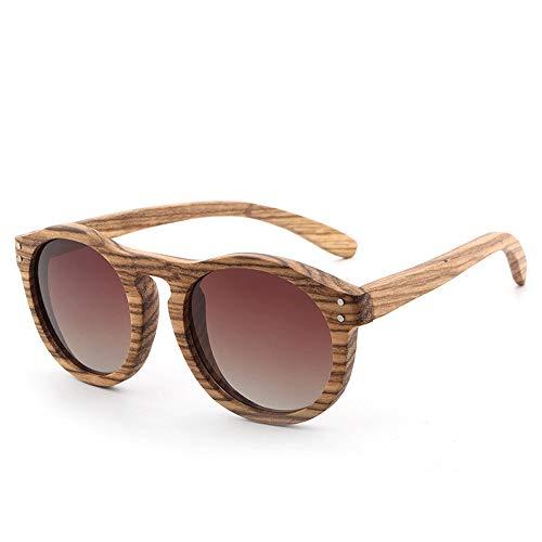 Beschichtete Holzbein Sonnenbrille Männer und Frauen polarisierte Gläser Vintage Runde Holz Sonnenbrille Brille (Color : Tea, Size : Kostenlos)