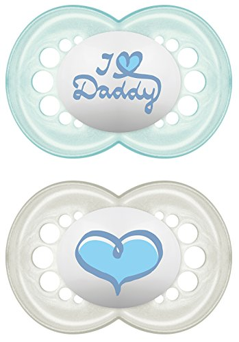 MAM Babyartikel 67637600 Original Silikon I love Daddy, girl, 6 -16 Monate, Doppelpack (gemischt ) - Schnuller Monate Mam 6