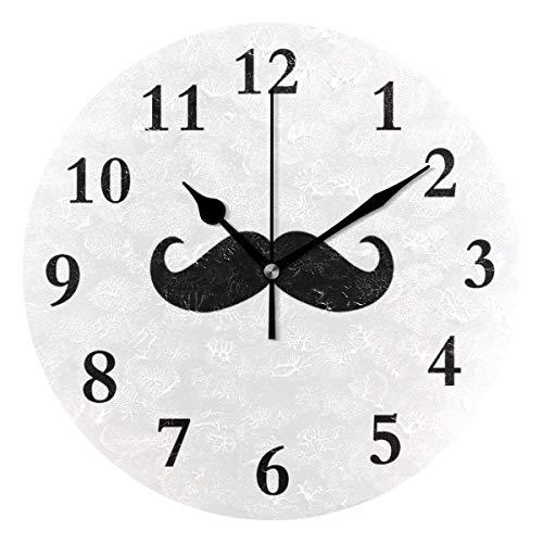 Xukmefat Runde Wanduhr Schnurrbart Tattoo Acryl Original Uhr für Home Decor Creative