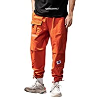 Walaha Multi Pockets Cargo Harem Jogger Pants Men Hip Hop Fashion Casual Track Trousers Streetwear Harajuku Hipster Sweatpants Orange
