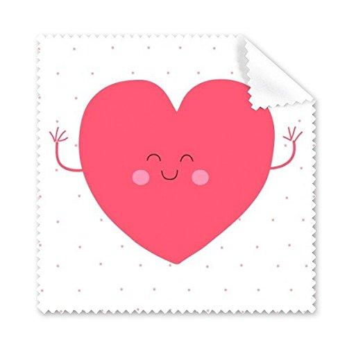 Valentine 's Day Rosa Cute Smile Face Herz Form mit Spots Illustration Pattern Brille Reinigungstuch Reinigungstuch Handy-Display von 5x