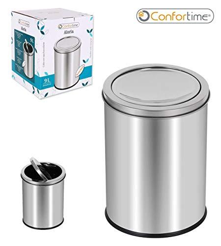 CONFORTIME Cubo Basura C/Tapa Oscilante 9L Aloria, Zinc, Multicolor, Talla Unica