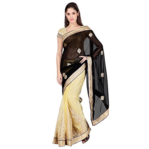 Janasya women's Black georgette haevy border saree (JNE0583.A)  available at amazon for Rs.599