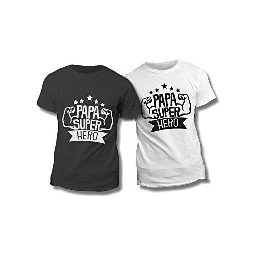 T-shirt uomo maglietta nera personalizzata dad super hero maglia maschile estiva idea regalo per la festa del papà - m