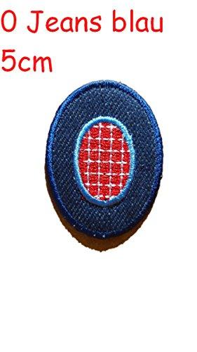 Zahl 0 rot blau 5cm Stoff Aufbügler Flicken Aufnäher Patches im Design von TrickyBoo Zürich Schweiz personalisieren Kleider Jeans Hosen Rock T-Shirt mit Zahlen Nummern Geburtsjahr Datum von Mädchen Buben Baby und jungen Kindern