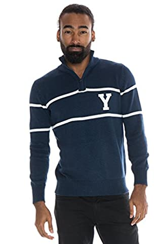NCAA Yale Bulldogs Men's Mock Ribbed Quarter Zip, Small, Blue