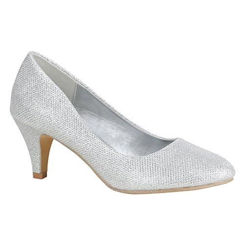 Klassische Damen Schuhe Pumps Stiletto Absatz Abend Leder-Optik 156101 Silber Metallic 37 Flandell Stiletto Pumps Schuhe