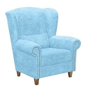 Max Winzer 2937-1100-2044130 fauteuil  Adele, avec clous décoratifs, tissu velours aqua