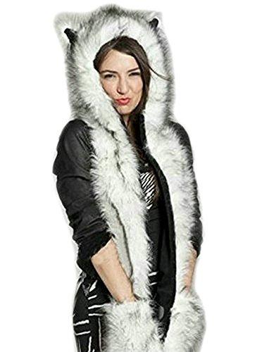 LATH.PIN Husky Faux Fur Animal Hood con cappuccio Hat 3-in-1 Mittens Guanti Sciarpa Spirito Paws