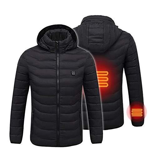 Deasengmint comodo abbigliamento termico per uomo cappotto riscaldatore usb giacca riscaldata riscaldamento abbigliamento invernale abbigliamento esterno-nero m