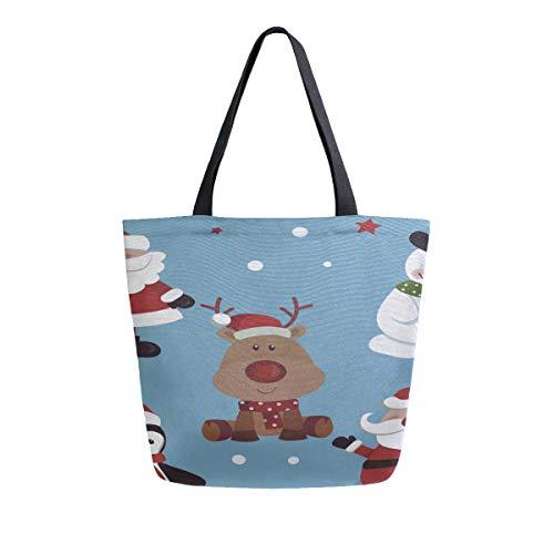 Weiß Schneemann Winter Maskottchen Tragbare Große Doppelseitige Lässige Canvas Tragetaschen Handtasche Schulter Wiederverwendbare Einkaufstaschen Seesack Geldbörse Frauen Männer Lebensmittelgeschäft