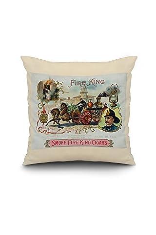 Fire King Brand - Firemen with Horse Engine - Vintage Cigar Box Label (18x18 Spun Polyester Pillow Case, White Border)