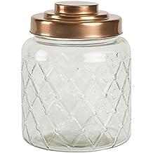 Entramado jarra de cristal con acabado de cobre tapa (2,6 L) –