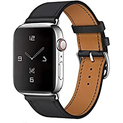 MroTech Bracelet 44mm 42mm Watch Band Bracelet en Cuir Vache, Bande de Montre Bracelet de Remplacement pour Série 5 Série 4 Série 3 Série 2 Série 1 Smartwatch, 42 mm / 44 mm,Noir