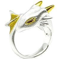 Snow Dragon Ring by MONVATOO London, eine freie Größe (verstellbare Band) 18 Karat Gold und Silber vergoldet Dragon Ring Schmuck