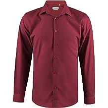 Enzo Camisa Hombre Clásico Regular Fit Color Sólido con Mangas Largas de S a XXL