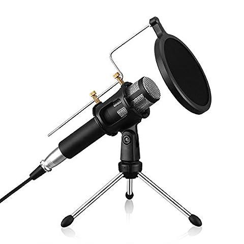 Apeanut USB Kondensator Mikrofon mit Stativ und Spritzschwamm für Studio , Rundfunk Aufnahmen , Facebook , MSN , Skype , YouTube , Google Stimme suchen , Spiele (Windows/Mac)