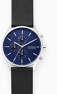 ساعة سكاجين هولست للرجال بمينا زرقاء وسوار جلدي وعرض انالوج - SKW6606