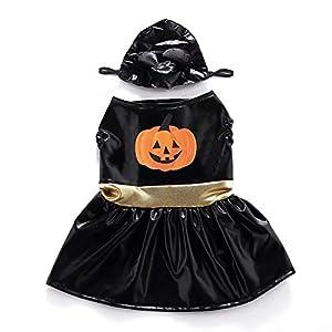 Isuper S Halloween Pet Costume fantasmagorique Déguisements pour Chats Chiens Habiller Halloween Party Festival de l'activité Vêtements Corne de Citrouille