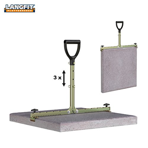LANGFIT paving slab lifter with 3-way adjustable handle - 20-62cm - Easy on the back and hips! - Load capacity up to 60 kg - Made in Germany - MS-PH2062T Test