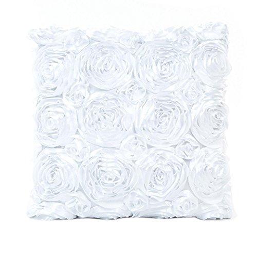 Kissenbezug Rose bestickt Kopfkissen Sofa Lendenkissen Wurf Wohnkultur 43cm x 43cm / 16.9 x 16.9inch LuckyGirls (Weiß)