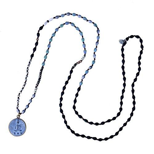 KELITCH Handmade Buddha Kette Damen Verknotet Perlen Yoga Damen Halskette - B