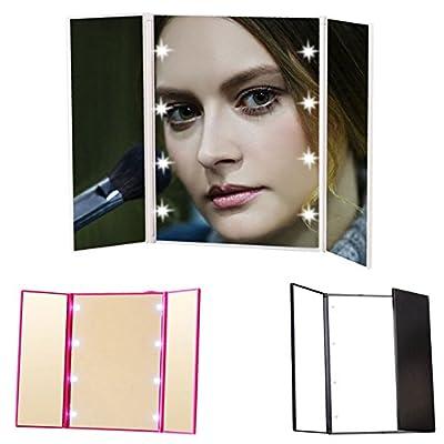 Majome Kosmetikspiegel Schminkspiegel Tragbarer Make-up-Spiegel 8 LED-Lichter Drei Klapptisch Kosmetische Leuchtende Spiegel Touchscreen-Spiegel
