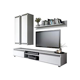 Mirjan24  Wohnwand Check, mit 2 Hängeschränke TV-Lowboard und Wandregal, Wohnzimmerschrank, Matt (Weiß/Weiß + Graphit)