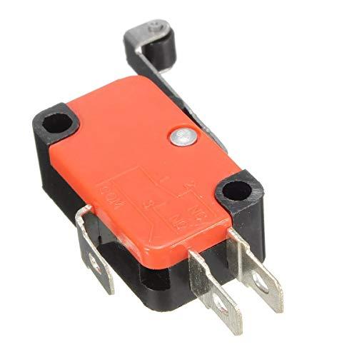Guarnizione di pistone di cilindro, 10 pezzi, micro 3 pin, limite, interruttore di contatto della leva del rullo lungo SPDT AC125~250 V 15 A, avviamento elettromagnetico