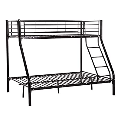 PANANASTORE 3FT and 4FT6 Metal Bunk Bed, 2-Storey Triple Sleepers Bed Frame Bunkbed with Tilt Stepladder Safety Rail Bedroom Dorm Apartment for Adults Children Teenagers Twins