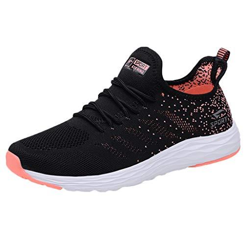 HDUFGJ Damen Sommer Sneaker Weicher Boden Fliegendes Weben Atmungsaktiv Laufschuhe Schnürer Sportschuhe Turnschuhe Halbschuh Fitnessschuhe