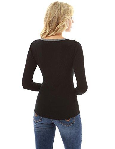 PattyBoutik Donne maglione lungo del manicotto di taglio del collo del collo nero e grigio