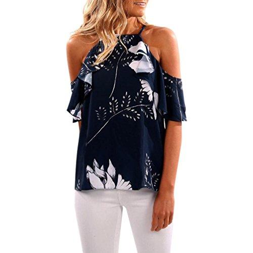 Toamen Fashion Womens Ruffled Off Shoulder Tops Casual Blouse Summer T Shirt