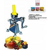 Kalsi Plastic Plunger Hand Operated Manual Citrus Juicer For Fruits, 3,225ml (Silver, KALSI-2)