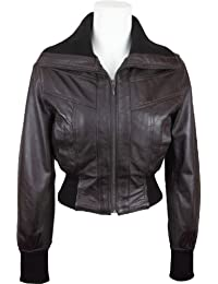 UNICORN Womens Short Bomber Style Real Leather Jacket Brown #EB
