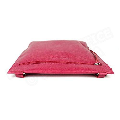 Besace modèle intermédiaire cuir Fabrication Luxe Française Rose Fuchsia