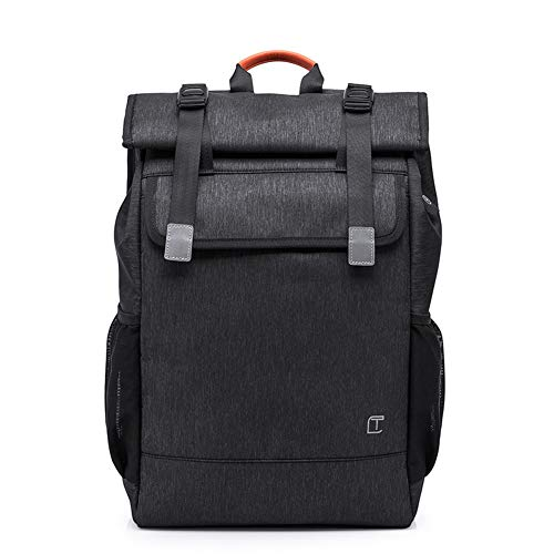 GJF Lässige Schultaschen Rucksack, High School Student Laptop Rucksack mit USB-Ladeanschluss, Nylon wasserdichter Student Daypack, für 15,6-Zoll-Laptop (schwarz) -